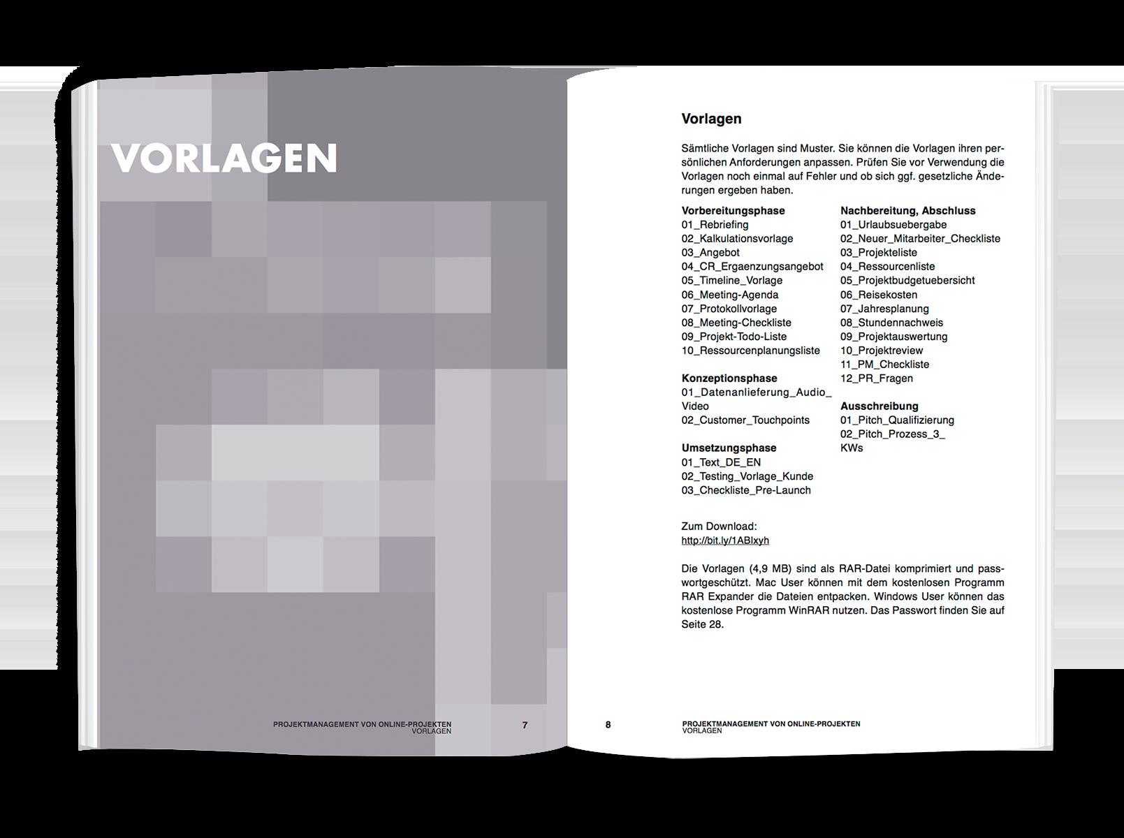 Projektmanagement von Online-Projekten - Vorlagen